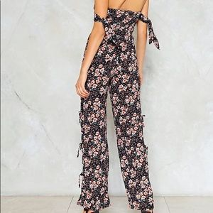 Nasty Gal Pants & Jumpsuits - Nasty Gal floral strapless jumpsuit with leg ties